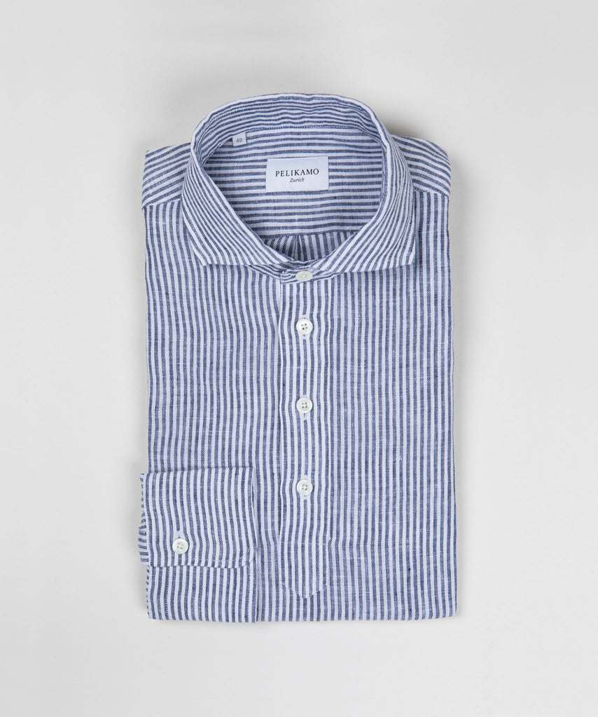 Striped Linen Pop Over Shirt