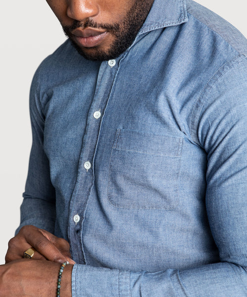 Casual Chambray Pocket Shirt