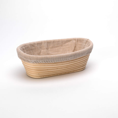 Oval 25cm Long Rattan Cane Banneton with Liner  Bread Dough Proving Proofing Basket Brotform