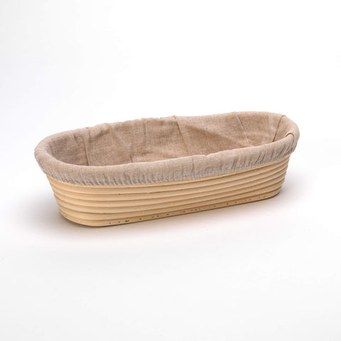 Oval 30cm Long Rattan Cane Banneton with Liner  Bread Dough Proving Proofing Basket Brotform