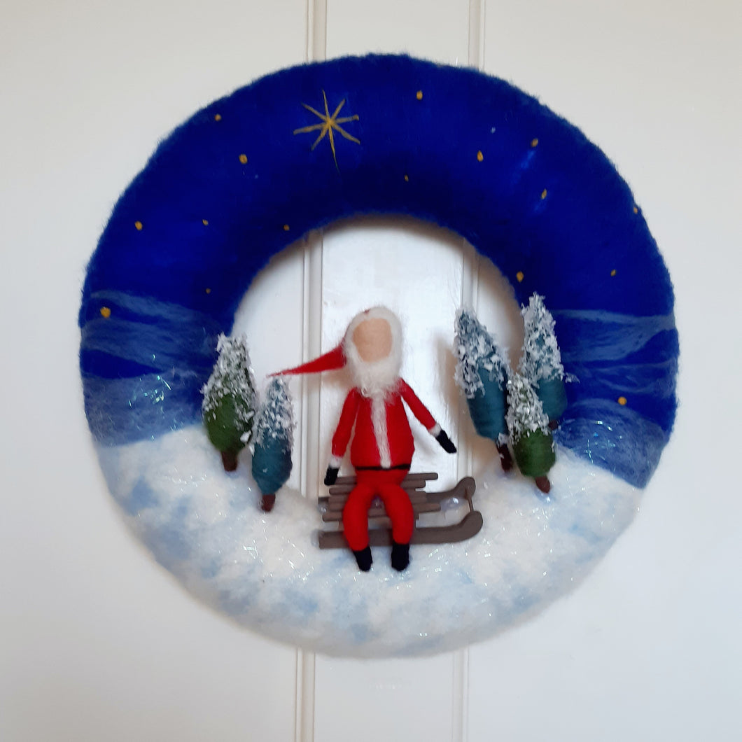 Large Christmas Wreath - Santa on sleigh