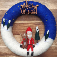 Load image into Gallery viewer, Santa & Rudolph - Merry Christmas wreath