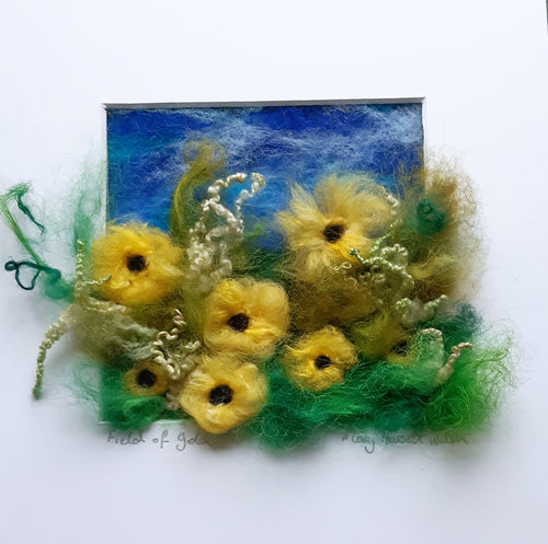 Needle felted wool painting of sunflowers