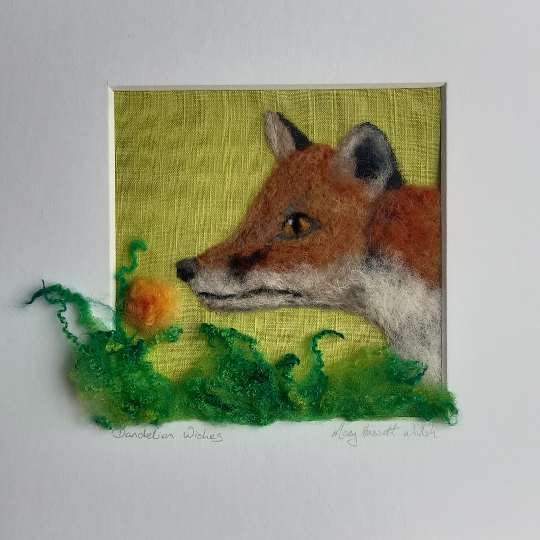 Needle felted wool painting of fox with flower