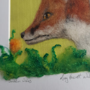 Dandelion Wishes  - Original Needle Felted Art - Fox Wool Painting
