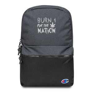 Burn 1 For The Nation Embroidered Champion Backpack