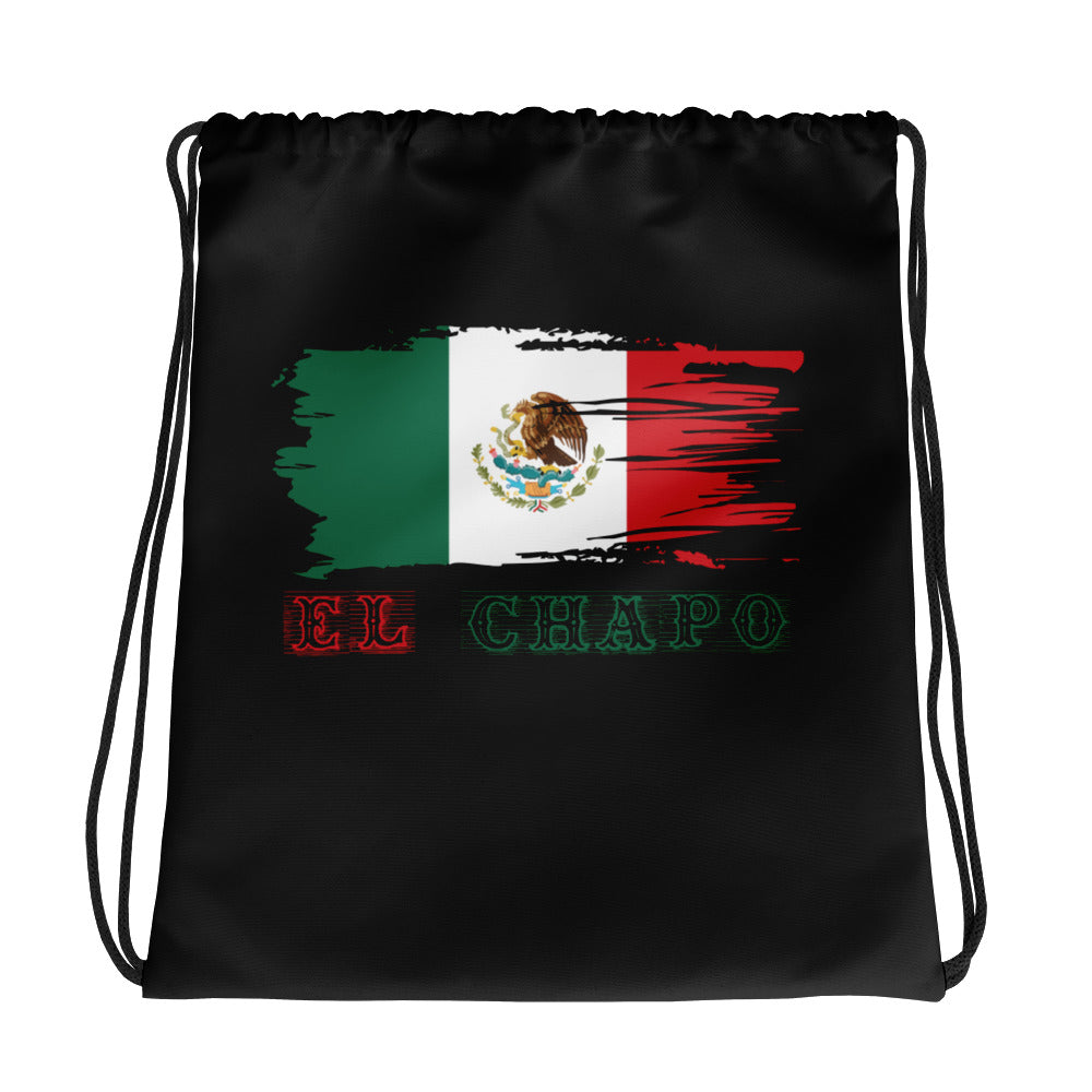 Mexico Flag El Chapo Drawstring Bag