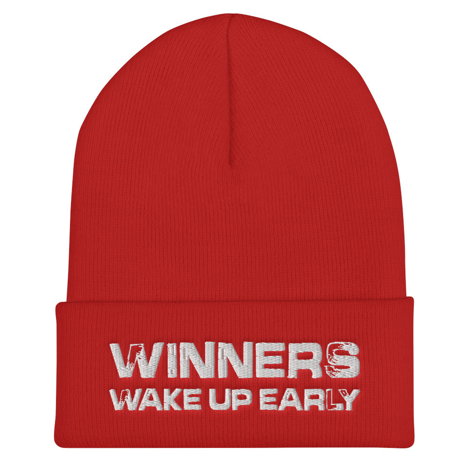 Winners Wake Up Early Cuffed Beanie