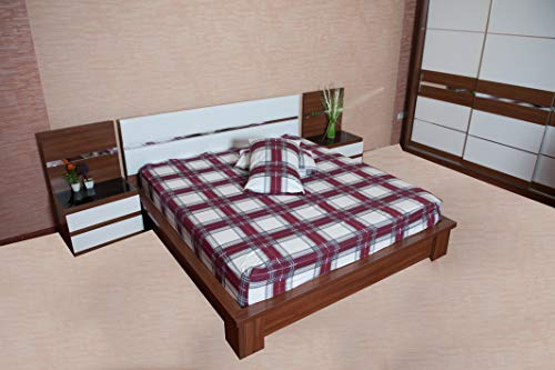 Flannel Fitted Sheet - %100 Cotton, Brushed, Top Sheet -Burgundy Plaid- Queen Size