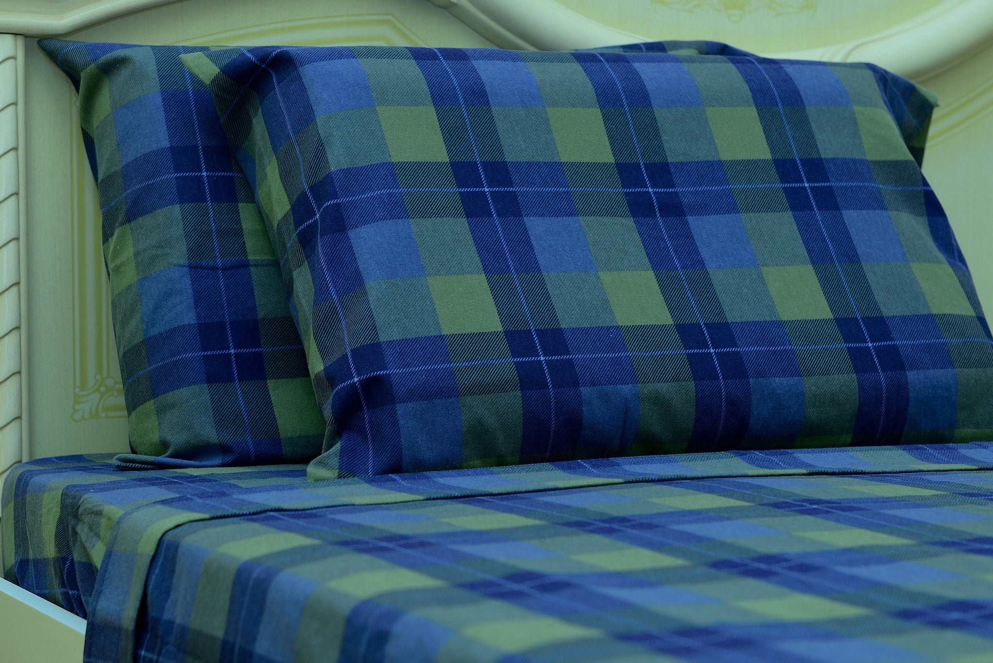 Flannel Fitted Sheet - %100 Cotton, Brushed, Top Sheet -Blue Plaid- Queen Size