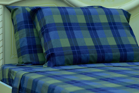 Flannel Flat Sheet - %100 Cotton, Brushed, Top Sheet -Blue Plaid - Queen Size