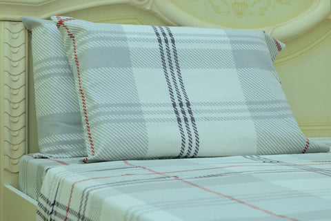 Flannel Fitted Sheet - %100 Cotton, Brushed, Top Sheet -White Plaid- Queen Size