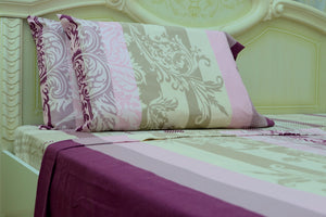 Flannel Flat Sheet - %100 Cotton, Brushed, Top Sheet -Damask - Queen Size