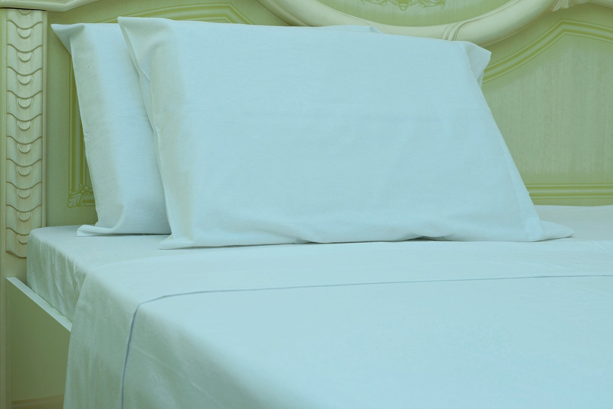 Flannel Fitted Sheet - %100 Cotton, Brushed, Top Sheet -White- Queen Size