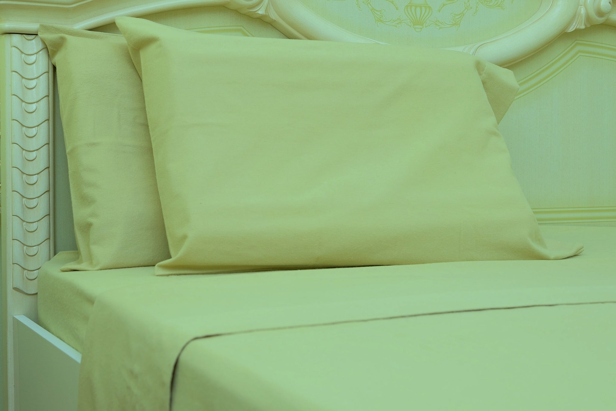 Flannel Fitted Sheet - %100 Cotton, Brushed, Top Sheet -Light Brown- Queen Size