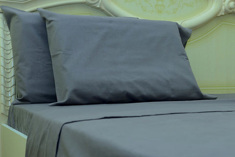 Flannel Fitted Sheet - %100 Cotton, Brushed, Top Sheet -Grey- Queen Size