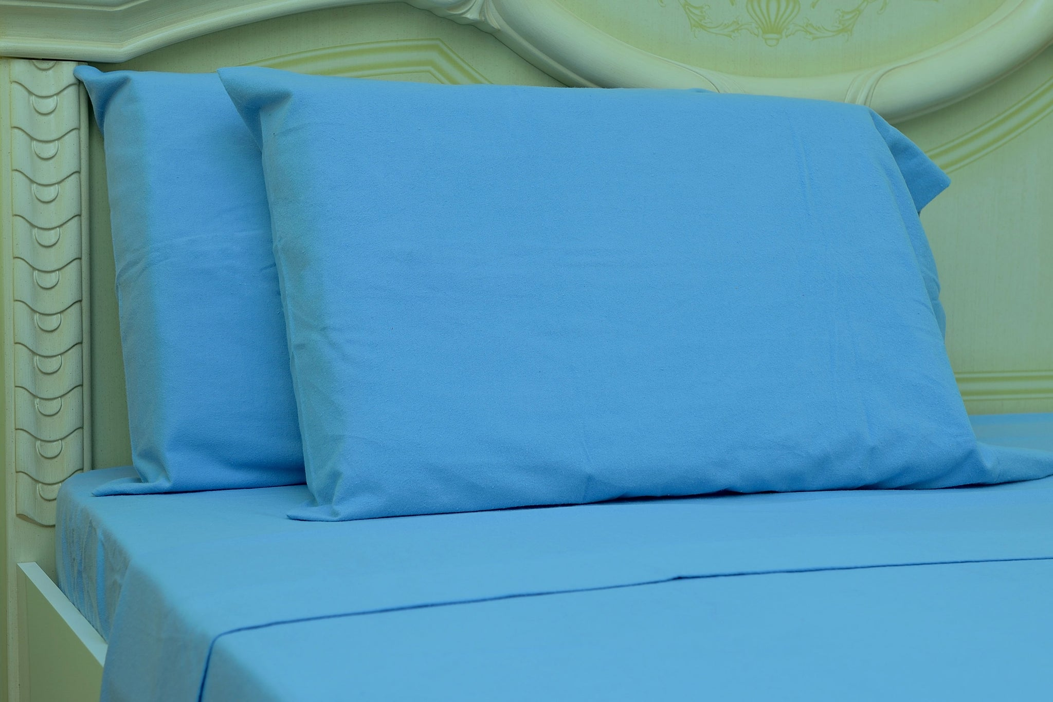 Flannel Fitted Sheet - %100 Cotton, Brushed, Top Sheet -Sky Blue- Queen Size
