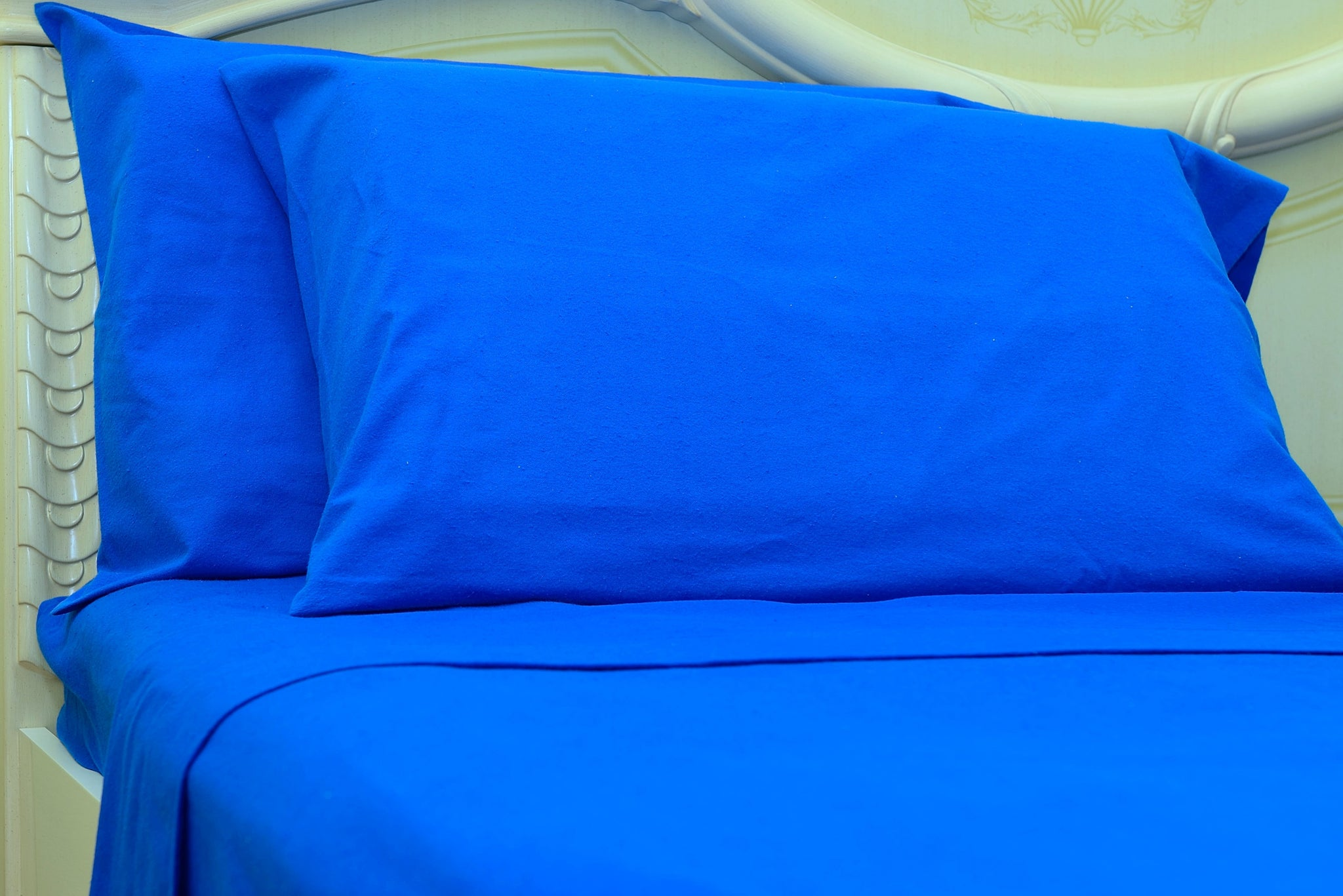 Flannel Fitted Sheet - %100 Cotton, Brushed, Top Sheet -Classic Blue- Queen Size