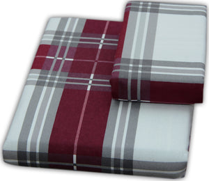 Flannel Flat Sheet - %100 Cotton, Brushed, Top Sheet -Burgundy Plaid- Queen Size