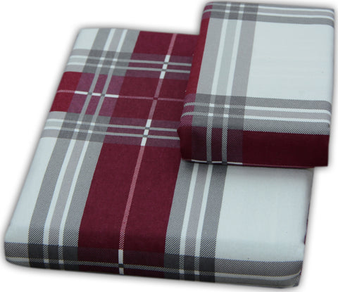 Flannel Pillowcases 2 Pack-Burgundy Plaid- Standard/Queen Size