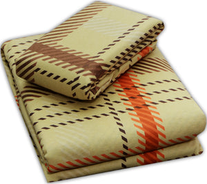 Flannel Flat Sheet - %100 Cotton, Brushed, Top Sheet -Brown Plaid - Queen Size