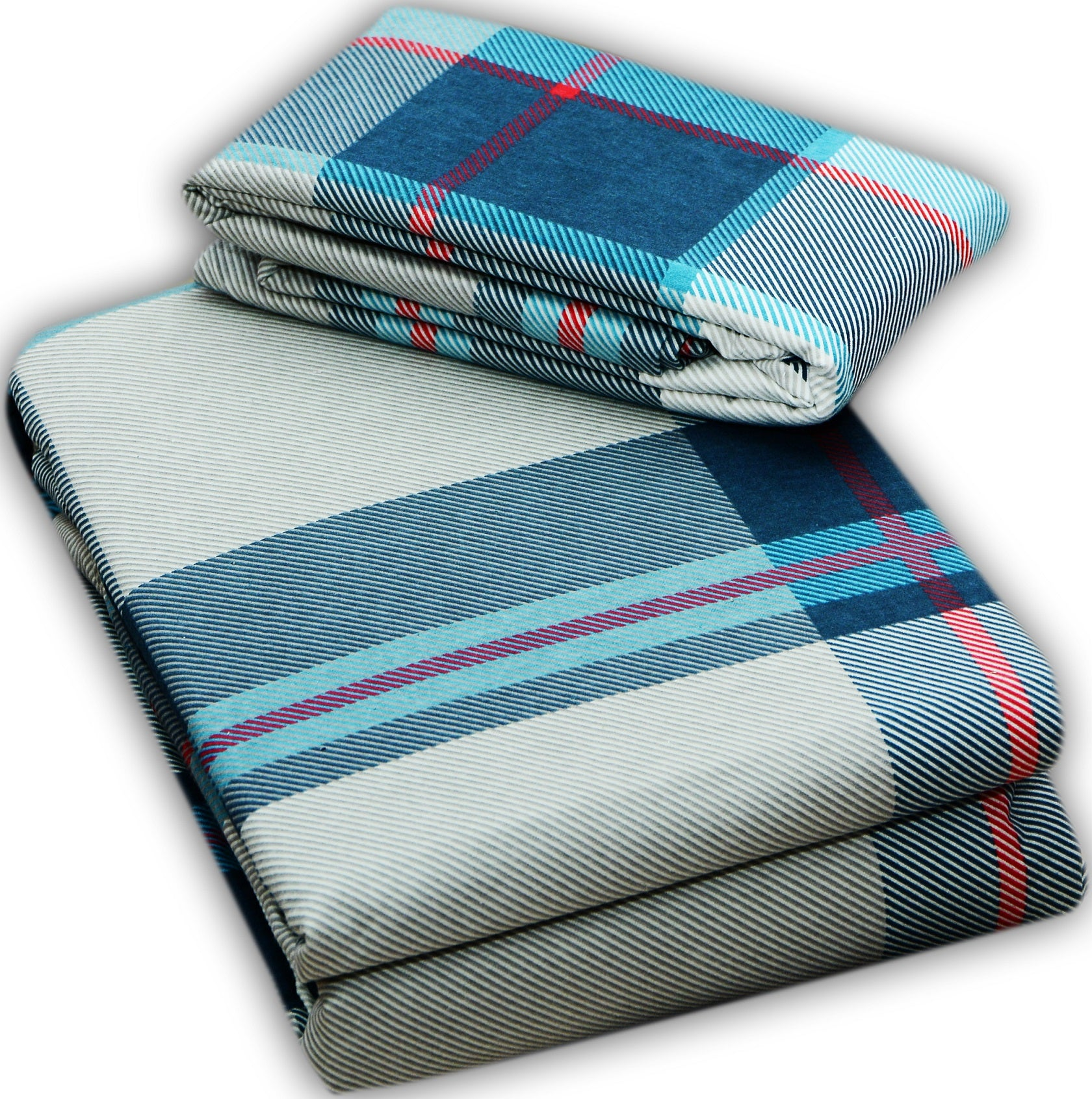 Flannel Flat Sheet - %100 Cotton, Brushed, Top Sheet -Light Blue Plaid- Queen Size