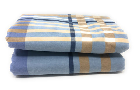Flannel Flat Sheet - %100 Cotton, Brushed, Top Sheet -Sky Blue Plaid- Queen Size