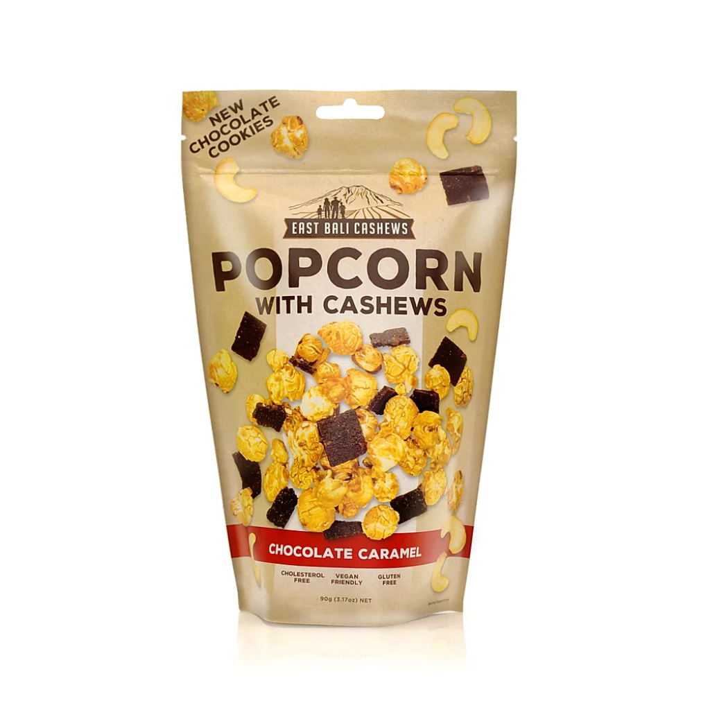 Chocolate Caramel Popcorn with Cashew Nuts
