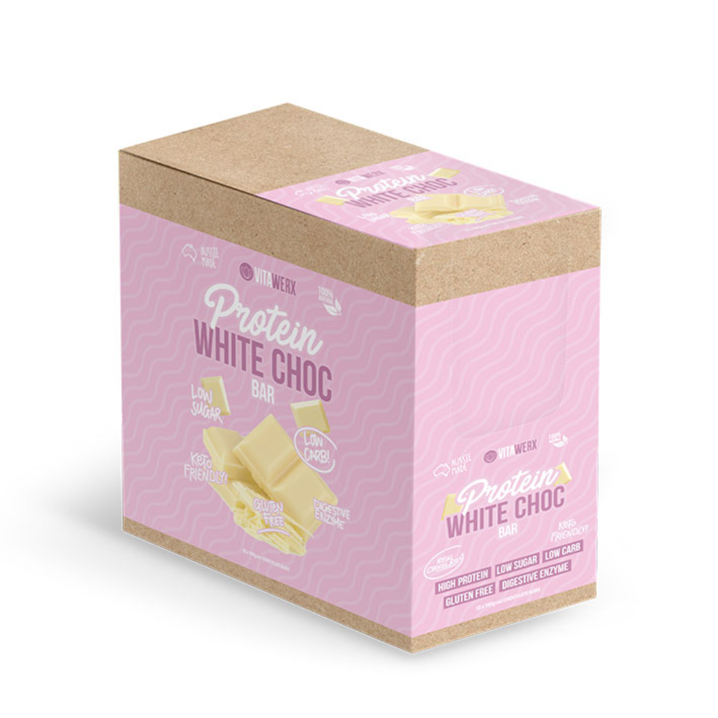 Protein White Choc Box of 12 (100g) - Plain