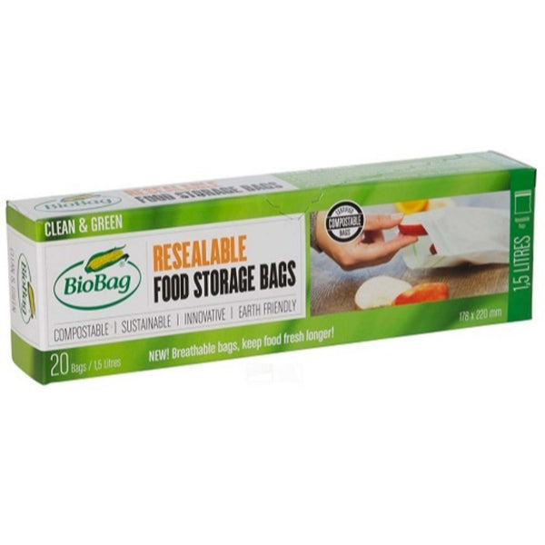 BioBag Compostable Resealable Food Storage Bags - 20 Bags