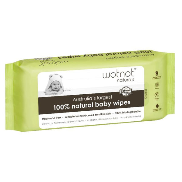 100% Natural Baby Wipes (70 sheets) - 100% Biodegradable