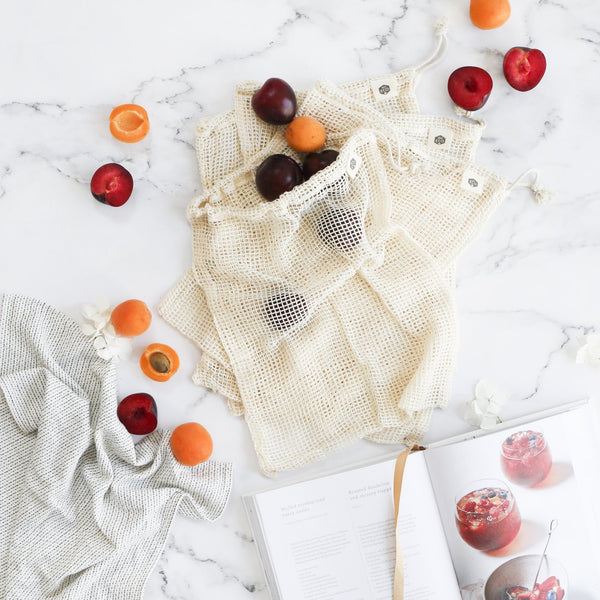 Organic Cotton Net Produce Bags 4 Pack