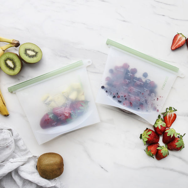 Reusable Silicone Food Pouches 2 X 1L