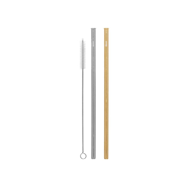 2 Pack Straight Stainless Steel Straws - Silver, Gold & Cleaning Brush