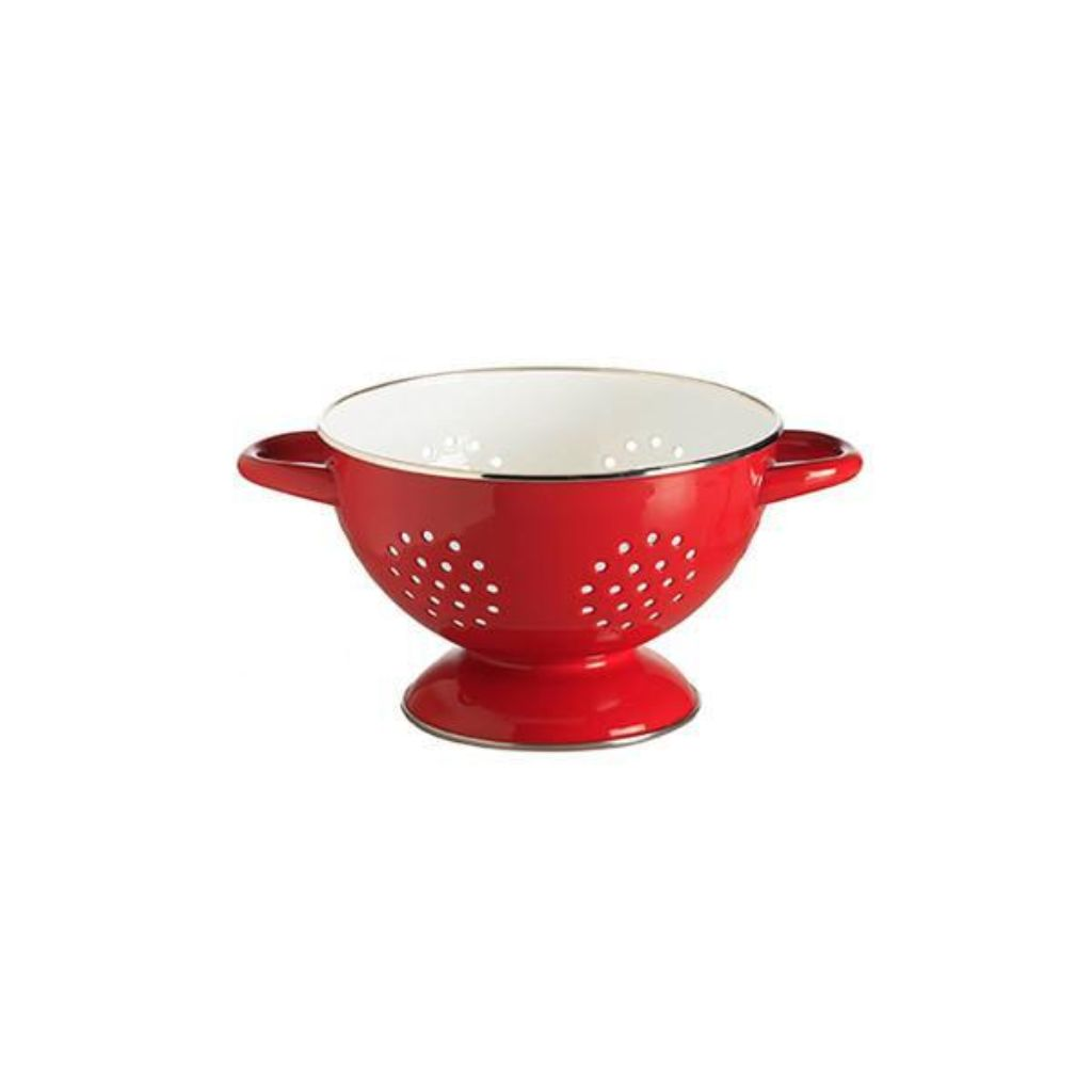Enamel Colander - Red/White