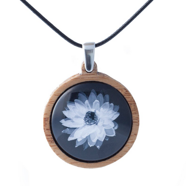Daisy Pendant, White Flower Necklace - Adjustable Length Cord - Handmade in Tasmania, Australia