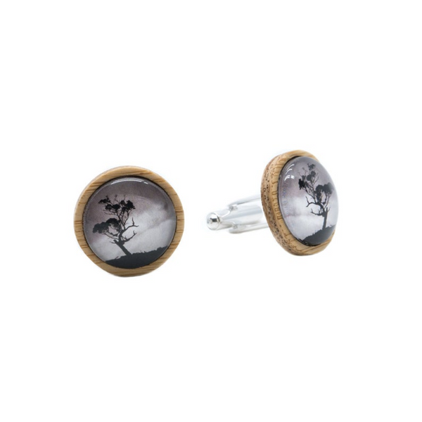 Gum Tree Eco Nature Cufflinks - Handmade in Tasmania, Australia - Environmentally Friendly - Bamboo & Silver Plated Brass