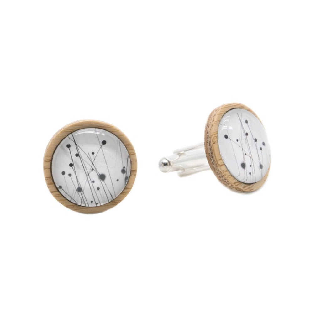 Buttongrass Eco Nature Cufflinks - Bamboo & Silver plated brass - Environmentally Friendly - Handmade in Tasmania, Australia