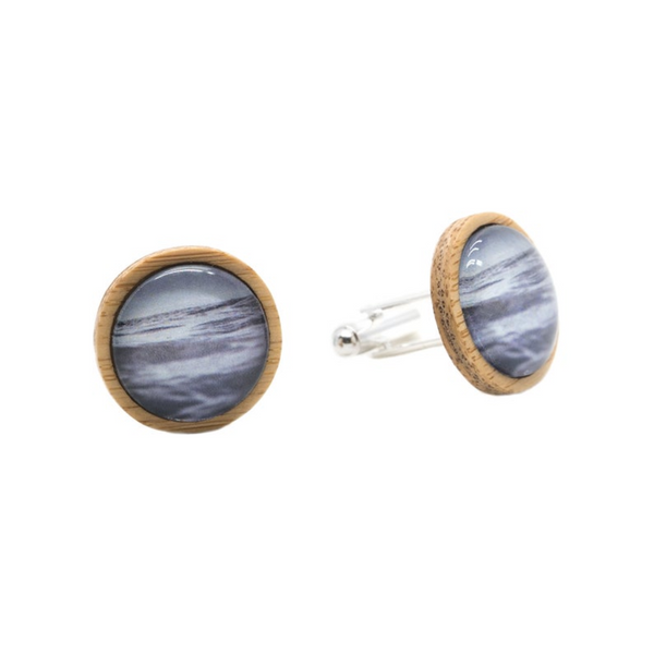 Ocean Eco Nature Cufflinks - Handmade in Tasmania, Australia - Environmentally Friendly - Bamboo & Silver Plated Brass