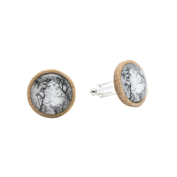 Gum Trees After Fire Eco Nature Cufflinks - Handmade in Tasmania, Australia - Environmentally Friendly - Bamboo & Silver Plated Brass