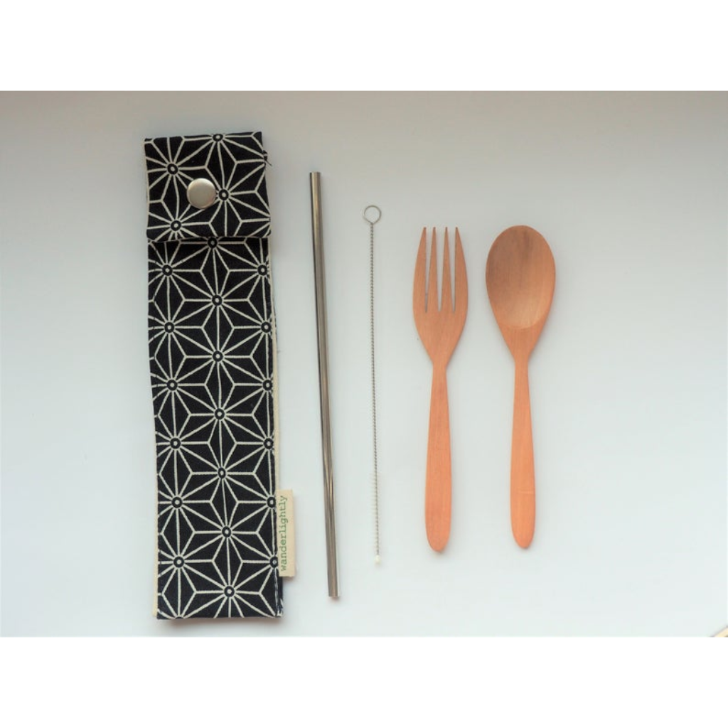 Large Cutlery Pouch: Navy Pattern