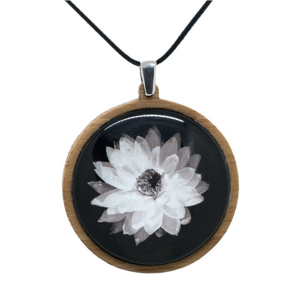 Daisy Pendant, White Flower Necklace - Adjustable Length Cord - Handmade in Tasmania, Australia - Large Size