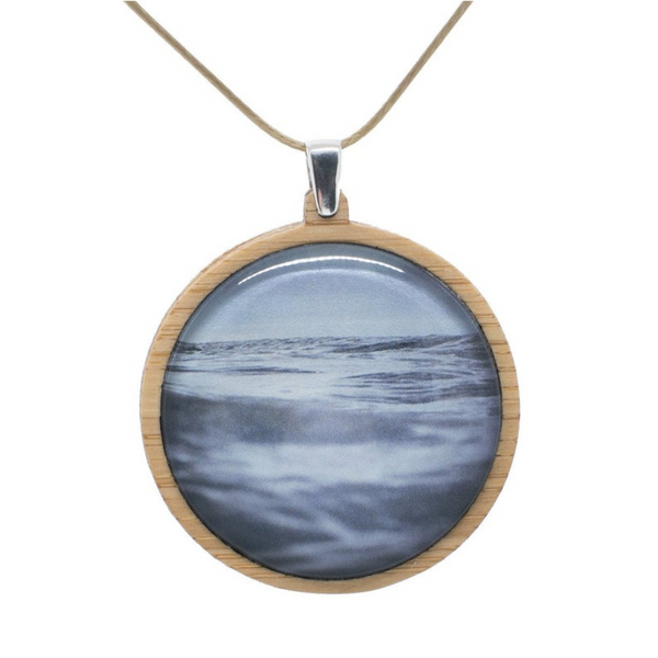 Blue Ocean Necklace - Bamboo Pendant - Original seascape photography - Adjustable Length Cord