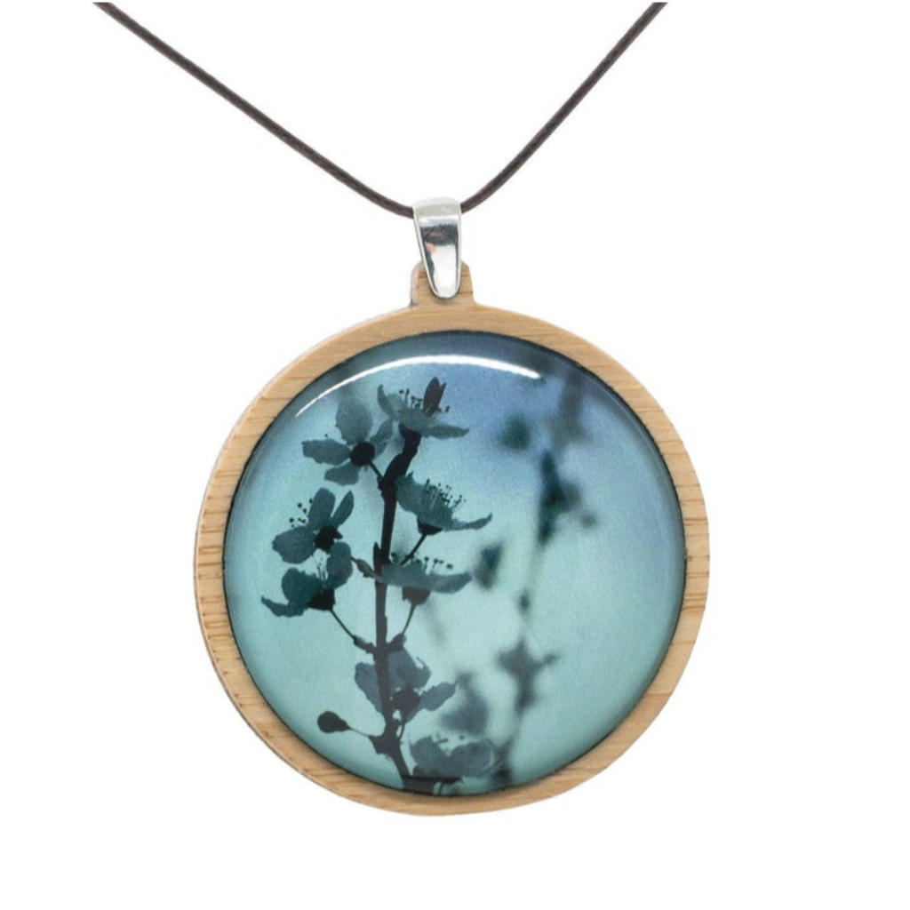 Blue Blossom Necklace - Botanical Pendant - Bamboo Jewelry - Handmade In Tasmania, Australia