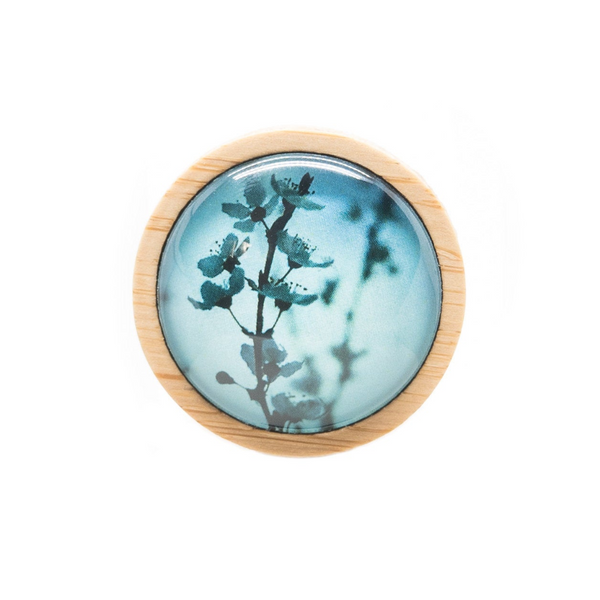 Japanese Brooch - Cherry Blossom Brooch - Blue Spring Flower