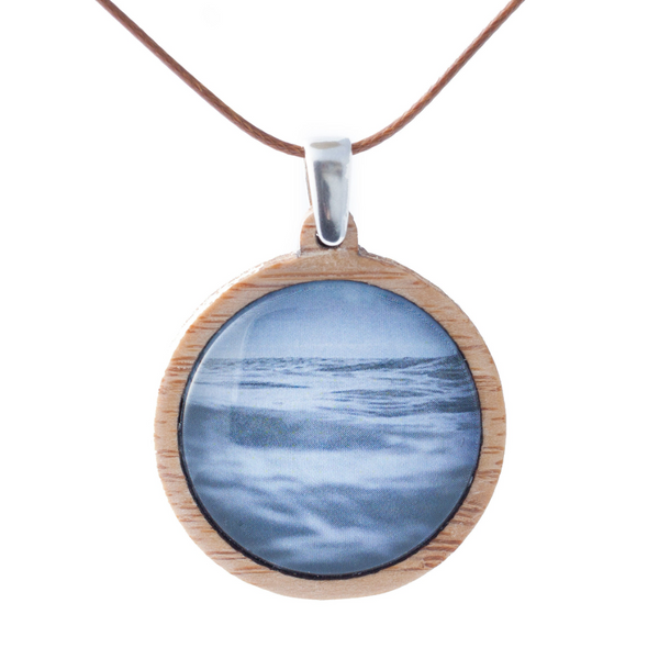 Blue Ocean Necklace - Bamboo Pendant - Adjustable Length Cord - Handmade In Tasmania, Australia