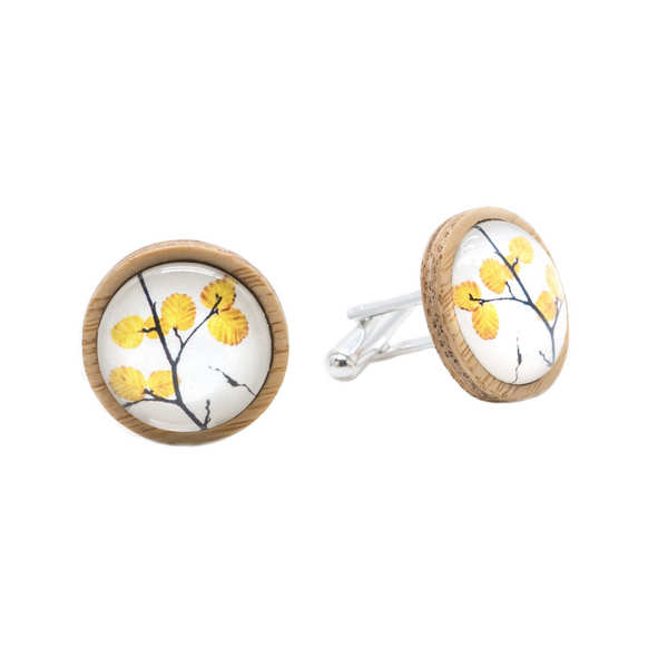 Deciduous Beech Eco Nature Cufflinks - Handmade in Tasmania, Australia - Environmentally Friendly - Bamboo & Silver plated brass