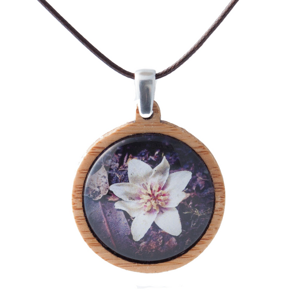 Purple Flower Necklace - Wooden Pendant - Australian Flowers - Eco Friendly Necklace - Adjustable Length Cord