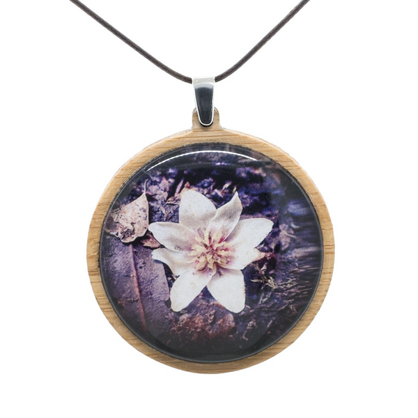 Purple Flower Necklace - Wooden Pendant - Australian Flowers - Eco Friendly Necklace - Adjustable Length Cord - Large Size