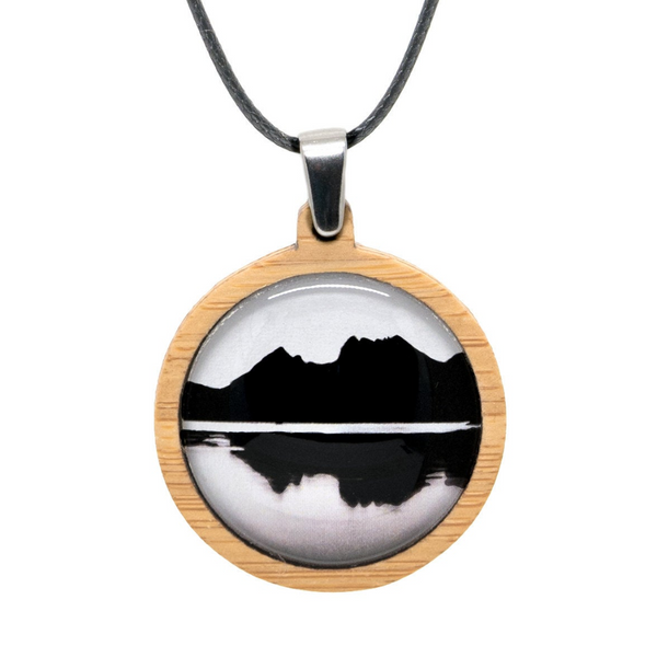 Mountain Pendant - Adjustable Bamboo Necklace - Landscape Jewelry - Handmade in Tasmania, Australia